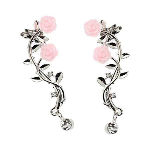 Bonarty Moda Crystal Rhinestone Leaf Twig Ear Cuff Stud Pendientes Ladies Ear Jewelry - Plata
