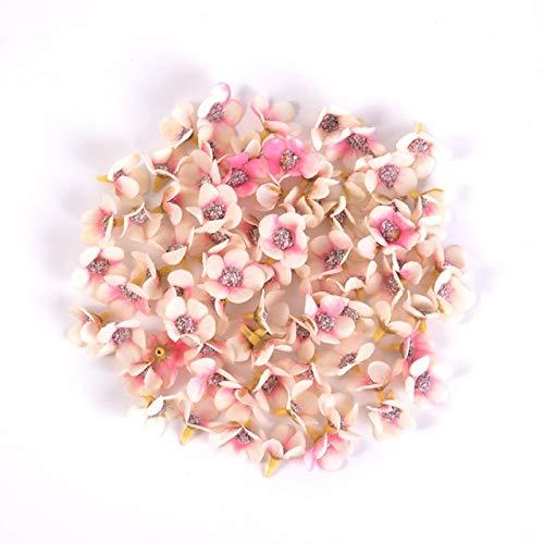 50pcs 2cm Daisy Flower Head Mini Silk Artificial Flowers For Home Wedding Decoration DIY Garland Headdress Fake Flowers Decor - Pink Beige
