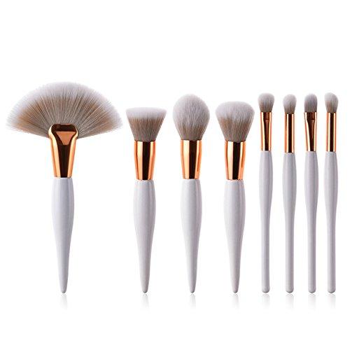 Maquillage De Brosses 8Pcs Pinceaux Synthétique Souple Tête Poignée En Bois Brosses Plat Fan Pinceau Pour Femmes Fard À Paupières Visage Maquillage,Blanc