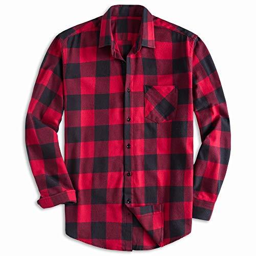 Chickwin Hombre Casual Manga Larga Camisa de Algodón, Moda Transpirables Fácil de Planchar de Slim Fit para Traje, Business, Bodas, Tiempo Libre Camisas (2XL,Rojo)