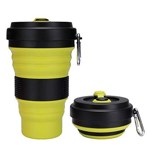 JackWish Faltbar Silikonbecher Klappbecher,Faltender Becher Faltbare Tasse Silikon für Camping Reise Outdoor Büro,BPA Frei,3 Einstellbare Kapazitäten,Max Kapazität 550ML (Schwarz+Grün)