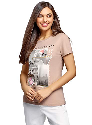 oodji Collection Damen Baumwoll-T-Shirt mit Druck, Beige, DE 40 / EU 42 / L