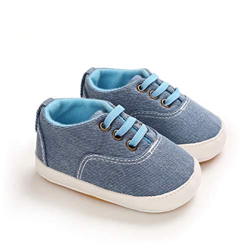 DEBAIJIA Bebé Primeros Pasos Zapatos de Lona0-6M NiñosAlpargata Suave Antideslizante Ligero Slip-on 17 EU Azul Claro (Tamaño Etiqueta-1)