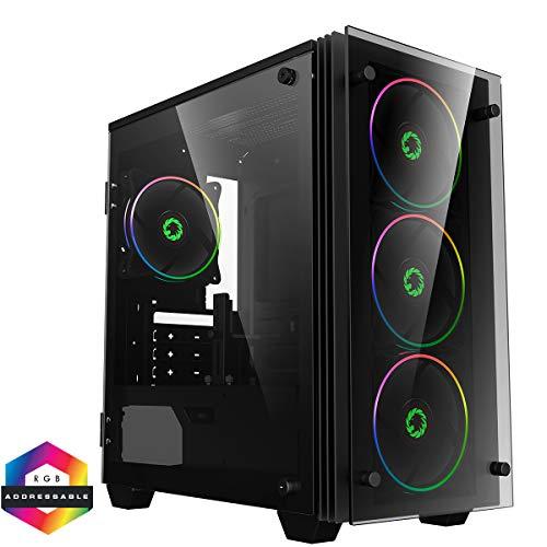 GameMax Stratos Mini ARGB Micro-ATX PC Gaming Case, MATX, 3 Pin AURA Sync, 4 x 120mm ARGB ventilatoren inbegrepen, ARGB Hub, 5 Ventilator ondersteuning, Water-Koeling Klaar | Zwart