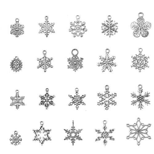 80 Stück Schneeflocke Charm Anhänger Schlüsselanhänger zum Schmuck Basteln Armband Halskette Ohrring Gemischte Charms,Antik Silber, DIY Halskette Armband Handwerk Deko Schmuck Zubehör Set