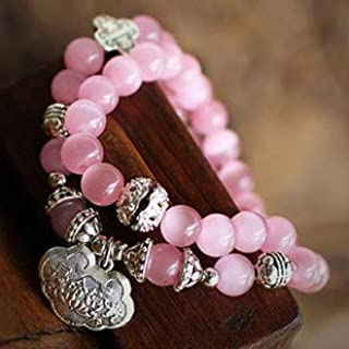 Mercury_Group Beads, New Fashion Pink Quartz 7mm Beads Tibetan Silver Bracelets for Women Gift Statement Lucky Jewelry