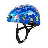 Besmall Cute Kids Bike Helmet Ages 3-7 Boys Girls Adjustable Safety & Comfort Helmets for Multi-Sports Cycle Skating Blue Ocean World