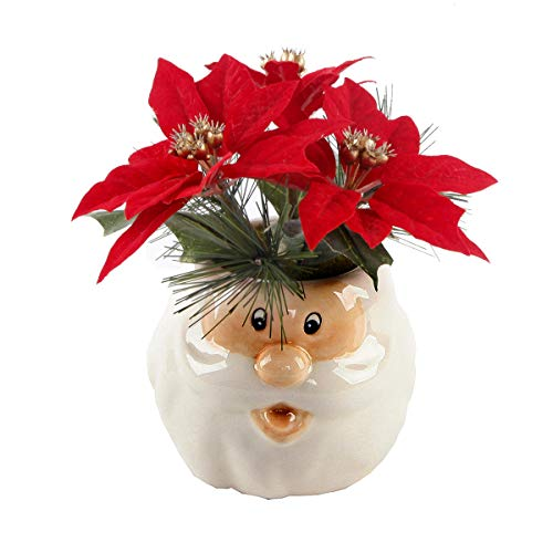 Flora Bunda Kunstpflanze Weihnachtsgesteck in Keramik-Schneemanntopf Weihnachtsstern