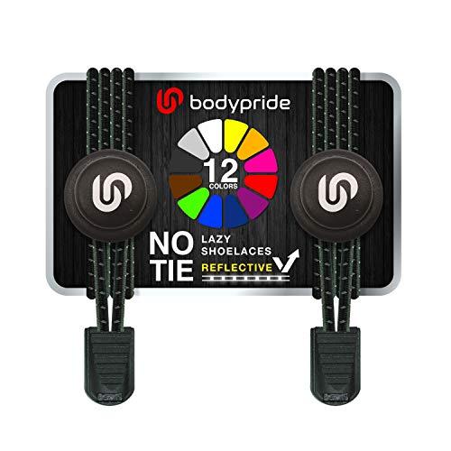 bodypride Premium Lazy Laces [ 12 Farben ] Elastische Schnellverschluss - Schnürsenkel ohne Binden | Schnellschnürsystem mit Reflektoren für Sport, Marathon, Triathlon, Kinder, Senioren | Schwarz