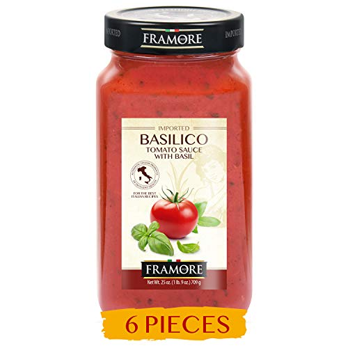 FRAMORE, Tomato Basil Sauce Basilico 25 ounce pack of six Imported from Italy