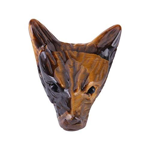 Ciondolo a forma di testa di lupo, 4 cm statua in pietra naturale occhio di tigre testa di lupo ciondolo intagliato a mano, testa di lupo, pietra di cristallo testa di lupo piccolo ornamento collana