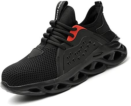 TRYBEST 2020 Breathable Men's Safety Shoes Steel Toe Safety Boots Male Work Sneakers Puncture-Proof Work Boots Men Shoes (Color : LB8056 Black, Shoe Size : 46)