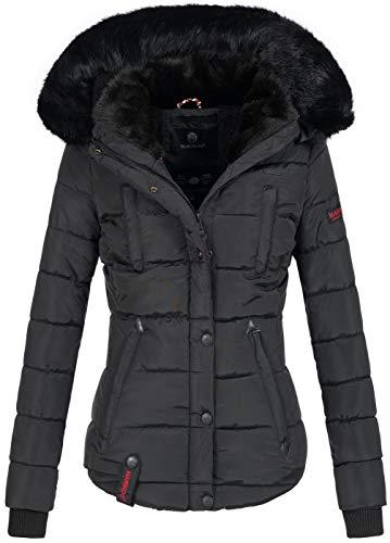 Marikoo warme Damen Winter Jacke Winterjacke Steppjacke gefüttert Kunstfell B618 [B618-Lotus-Schwarz-Gr.S]