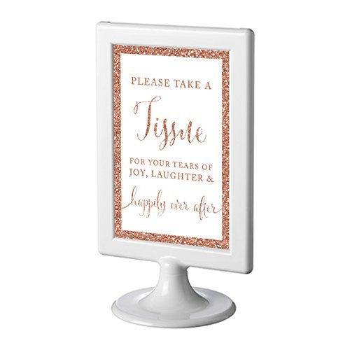 Andaz Press Framed Wedding Party Signs, Rose Gold Glitter, 4x6-inch, Please Take A Tissue for Your Tears of Joy, Laughter and Happily Ever After, 1-Pack, Copper Champagne Colored Decorations