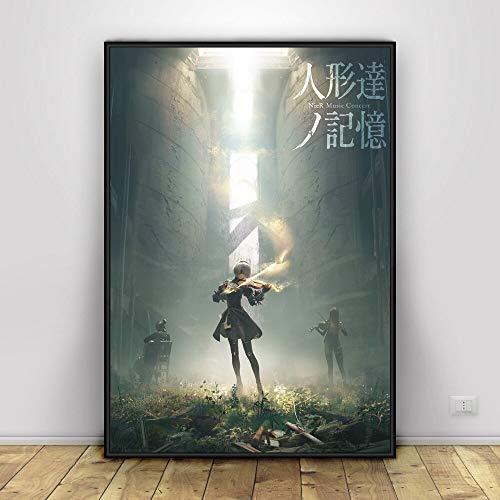 Ami0707 NieR Automata Art Anime Poster drucken Leinwand Malerei Wanddekoration Poster Wandbild für Wohnzimmer50cmx75cm No Frame