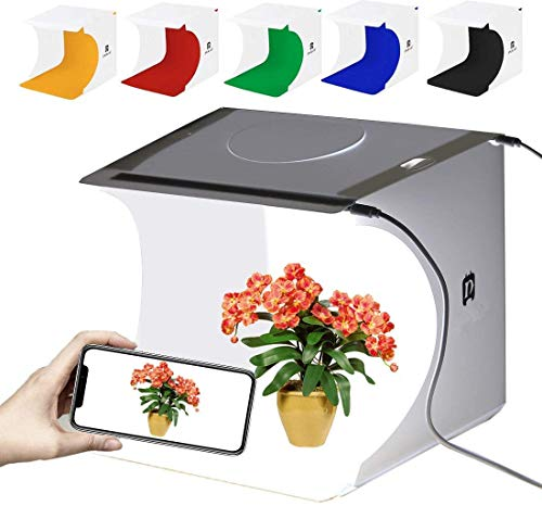 GLURIZ Estudio fotografico portatil, Caja de Luz para Estudio Fotográfico, Kit para Fotografía de Producto con 2 Tiras LED Ajustable 40Leds y 2 USB y 6 Fondos de Colores