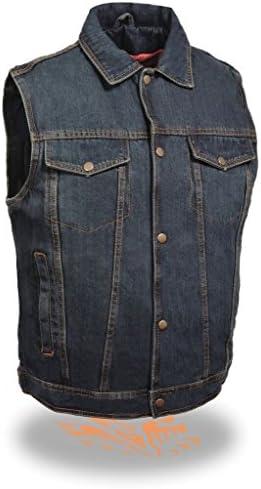 Milwaukee Men s Motorcycle Denim Vest in Black Blue Jean Style 2 Gun Pocket Single Back product image
