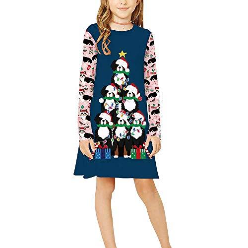 Vestido para Niñas Navidad,Chickwin Conjunto Niña Cuello Redondo Poliéster Ropa Nacido Casual Manga Larga Vestidos Niña Ceremonia Regalo para 9-12 Años (Perro Salchicha Azul Oscuro,L: 155-165cm)