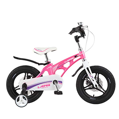 MQYZS Bicicleta Infantil para niños y niñas a Partir de 2-7| Bici 12-14-16-18 Pulgadas con Frenos,Ruedines de Entrenamiento Desmontables,Rosado,16 Inches