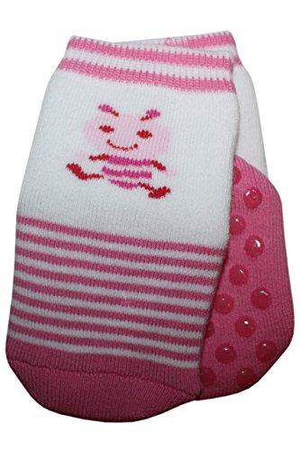 Weri Spezials baby- en kindernoppen ABS full-frotee sokken met het mooie patroon - de kleine mier in donkerroze