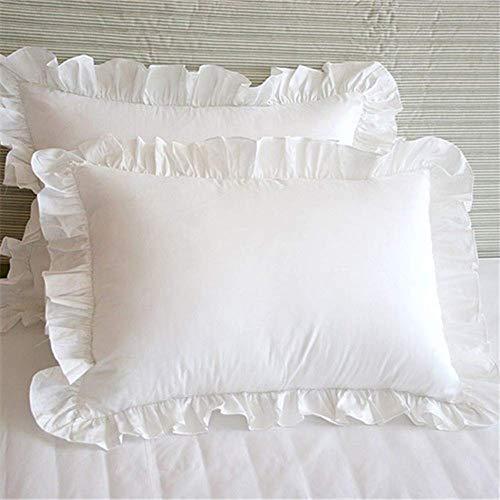 Fundas de Almohada con Volantes Fundas de Almohada Blancas Shabby Chic Victorian Country Girls Vintage Frilly Pillow Cover Protector, Edge Ruffle Fundas de Almohada Decorativas