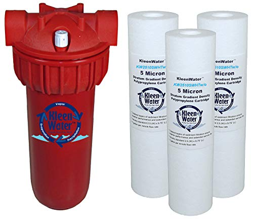 KleenWater Hot Water Filter (1), Mounting Bracket (1), High Temp Cartridges, 5 Micron (3), Spare O-ring (1), Filter Wrench (1)