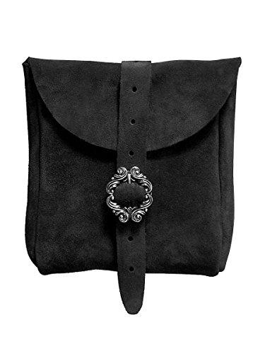 Andracor Mittelalter LARP Zubehör mittelgroße Veloursleder Gürteltasche aus echtem Leder - schwarz