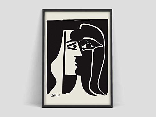 Pablo Picasso Schwarz-Weiß-Poster, Kunstausstellungsdruck, Museumsausstellung Kunst, Picasso-Druck, Kunstmuseum Druckkunstplakat, Familienrahmenlose dekorative Malerei A83 30x40cm