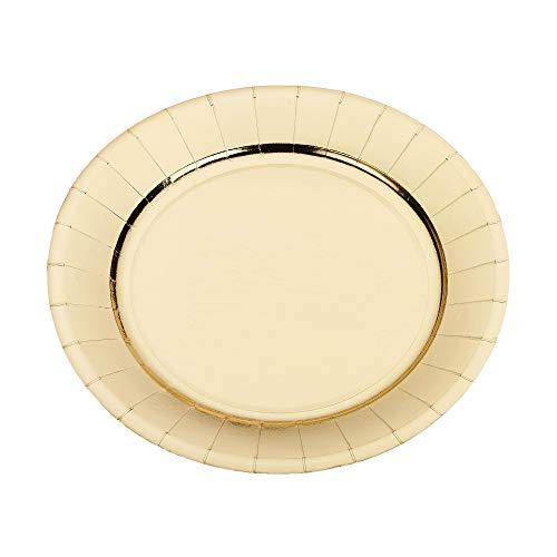 Le Nappage - Assiettes en Carton Recyclé métallisé Or - Diamètre 23 cm - Lot de 10 Assiettes Jetables en Carton Rigide