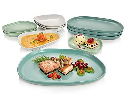 Sänger ovales, handgefertigtes, skandinavisches Gourmet Design-Teller-Set Canberra Tafelservice Geschirrset für 4 Personen 12-teilig in modern, matt Porzellan, premium, besonders, extravagant