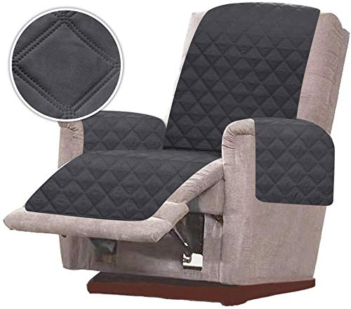 RHF Diamond Chair Covers, Recliner Cover, Chair Covers for Living Room, Chair Cover for Dogs, Recliner Chair Cover, Machine Washable, Double Diamond Quilted(Recliner-Small: Charcoal/Grey)