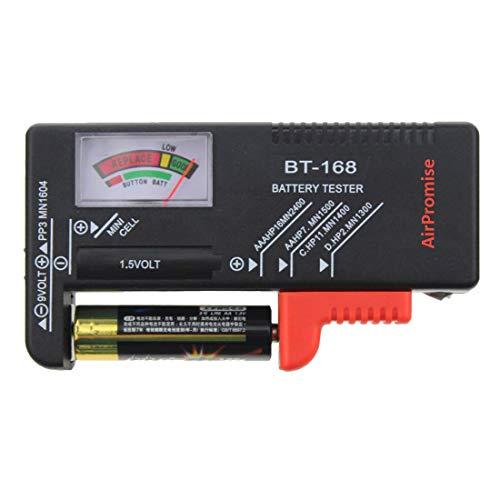 AirPromise Universal-Batterietester für AAA, AA, C, D und Botton-Batterien, 1,5 V, 9 V, Batteriespannungs-Tester zum Recycling von Batterien (BT-168)