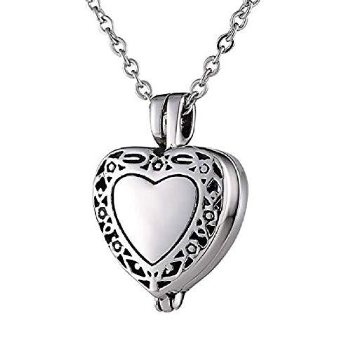 ZZYC Collar conmemorativo de Cenizas Mascotas, Caja de Cenizas en Forma de corazón Colgante Que Puede abrirse, Adecuado para almacenar Las Cenizas,Silver
