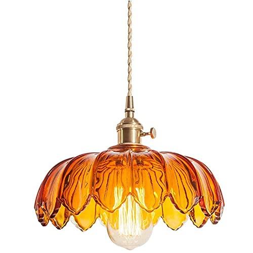 UimimiU Colgante luz Industrial Simple Vintage Vendimia lámpara Colgante E27 Acabado Colgando lámpara de Techo nórdico Retro Cristal araña de Cristal Restaurante Barra Corredor araña de cabecera