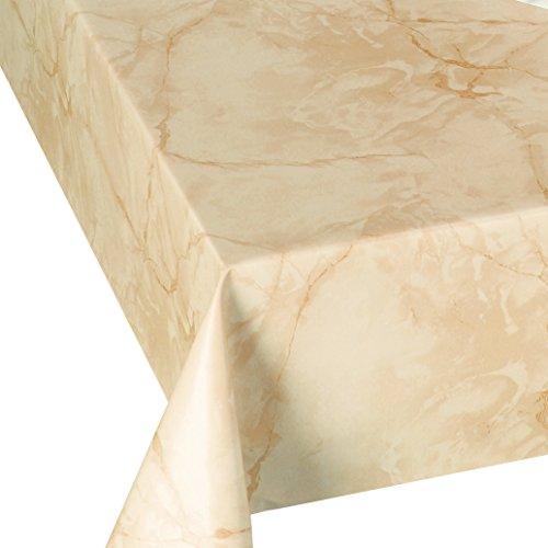 DecoHomeTextil Wachstuch Wachstischdecke Tischdecke Breite und Länge wählbar abwaschbare Gartentischdecke Lack Marmor Beige 120 x 170 cm Eckig