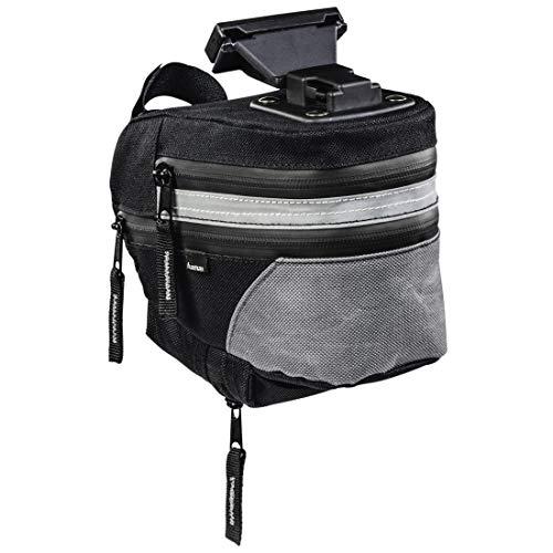 Hama Fahrrad Satteltasche (Fahrradtasche mit Schnellverschluss, Rahmentasche abnehmbar, erweiterbar, 2 – 2,8 l Volumen) schwarz