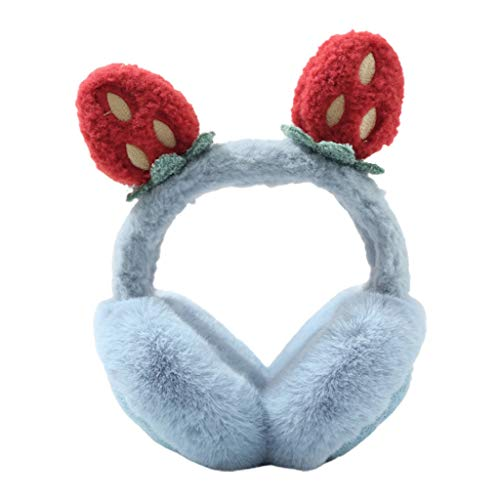 Women Student Winter Fluffy Plush Earmuffs Cute Cartoon 3D Strawberry Ears Earflap Foldable Portable Ear Warmers Covers Headband (Winter Outdoor Activities)