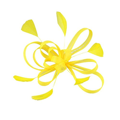 Frcolor Clip de Pelo Pluma Fascinator Boda Nupcial Pelo Accesorio (Amarillo)