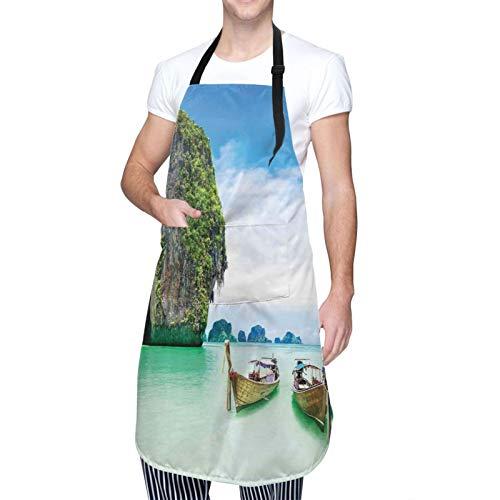 Delantal de Cocina Impermeable con Bolsillos,Piedra caliza en el mar Barcos Cielo Tranquilo Costa,Ajustable Delantales Hombre Mujer Mandil Cocina para Jardinería Restaurante Barbacoa Cocinar Hornear
