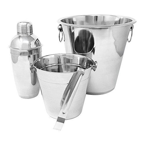com-four® 4-teiliges Cocktailshaker Set aus rostfreiem Edelstahl - Cocktail Mixer mit Shaker, Zange und einem großen und einem kleinen Kübel - Professionelles Barzubehör (Cocktailshaker - 04-teilig)