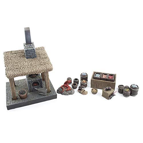 War World Gaming Fantasy Village - Fragua de Herrero y Puesto de Mercado - 28mm Wargaming Medieval Miniaturas Maquetas Dioramas Edificios Wargames Guerra Aldea Edad Media