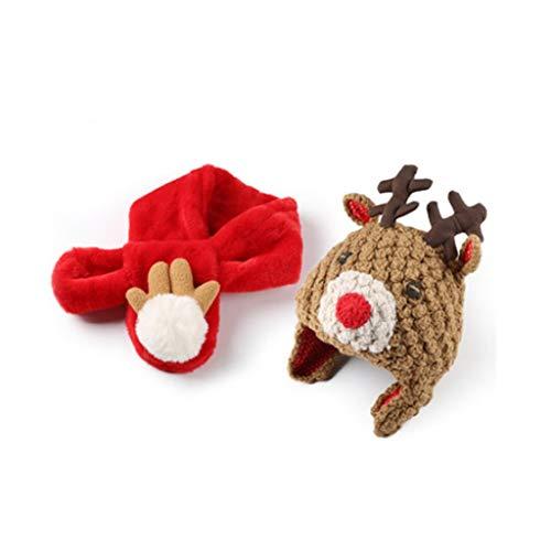 Bufanda de niños Decoración de Navidad invierno caliente punto Beanie sombrero de la bufanda de la bufanda de Knited Parte festiva Niños Y for la caja de embalaje Bufandas ( Color : B1-3 years old )