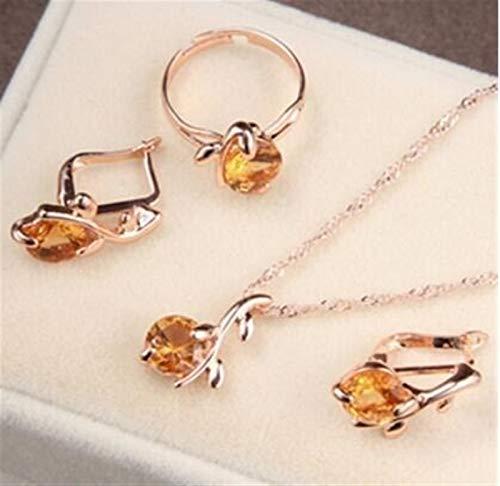 Juegos de joyería Collar de novia Pendientes Anillo Mujeres Cristal Conjunto de joyas de moda *3* (Metal color : F445)
