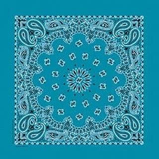 Carolina Bandannas Bulk Buy (6-Pack) Have A Hank Paisley Bandannas 22 inch x 22 inch Turquoise IPAISLEY-36