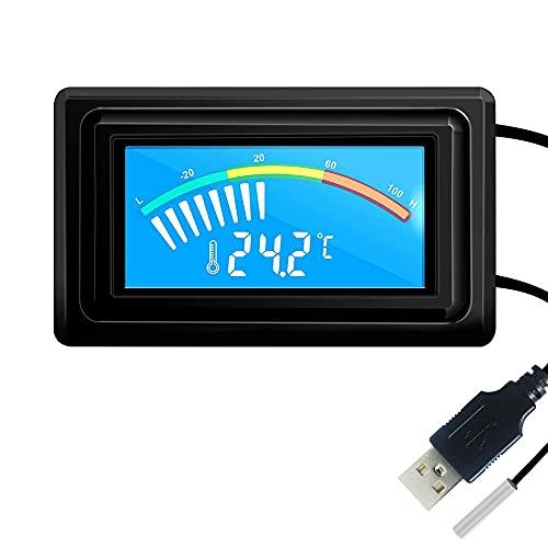 Termometro digitale USB DyniLao con sonda impermeabile NTC DC 5V-25V LCD Misuratore di temperatura per PC Computer Auto -50~110 DC 12V 24V