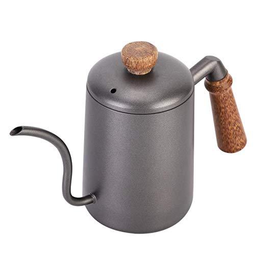 Tetera Té Infuser del té 600ml de agua de acero inoxidable a mano retro del café estrecha boca Vaso con empuñadura de madera de hierro fundido