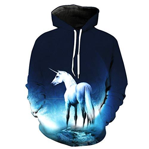 HPENYYOSY Sweatshirt Männer/Frauen 3D Hoodies Print Weiß Pferd Tiermuster Schlank Unisex Slim Stylish Hoodies 3055 S