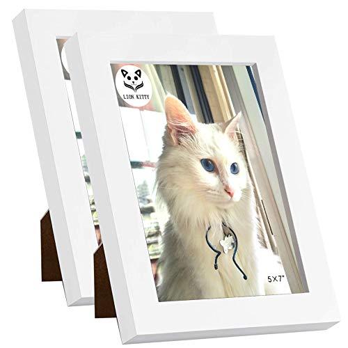 LION KITTY Bilderrahmen, 12,7 x 17,8 cm, aus Massivholz, HD-Plexiglas-Bilderrahmen für Wandgalerie-Halterung oder Tischdekoration, horizontale und vertikale Formate, minimalistischer weißer Rahmen