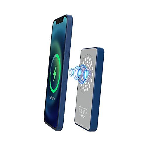 Banco e EnergíA InaláMbrico MagnéTico De 5000 Mah, Carga RáPida PortáTil MagnéTica De 15 W con Soporte, Cargador MagnéTico Ultrafino, Paquete De BateríA Externa para iPhone 12 / Pro/MAX (Azul)