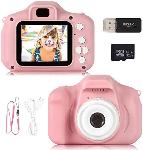 N/C Cámara Digital para Niños, 1080P 2.0' HD Selfie Video Cámara Infantil, Regalos Ideales para Niños Niñas de 3-10 Años, con Tarjeta TF 32 GB, Lector de Tarjetas (Rosa) (Rosa)